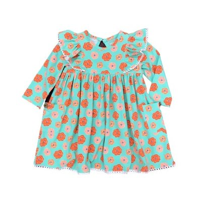 SAGE & LILLY AQUA/ORANGE FLORAL- ANGEL WING DRESS