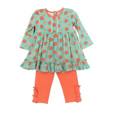 SAGE & LILLY AQUA/ORANGE FLORAL- SWING TOP WITH LEGGINGS