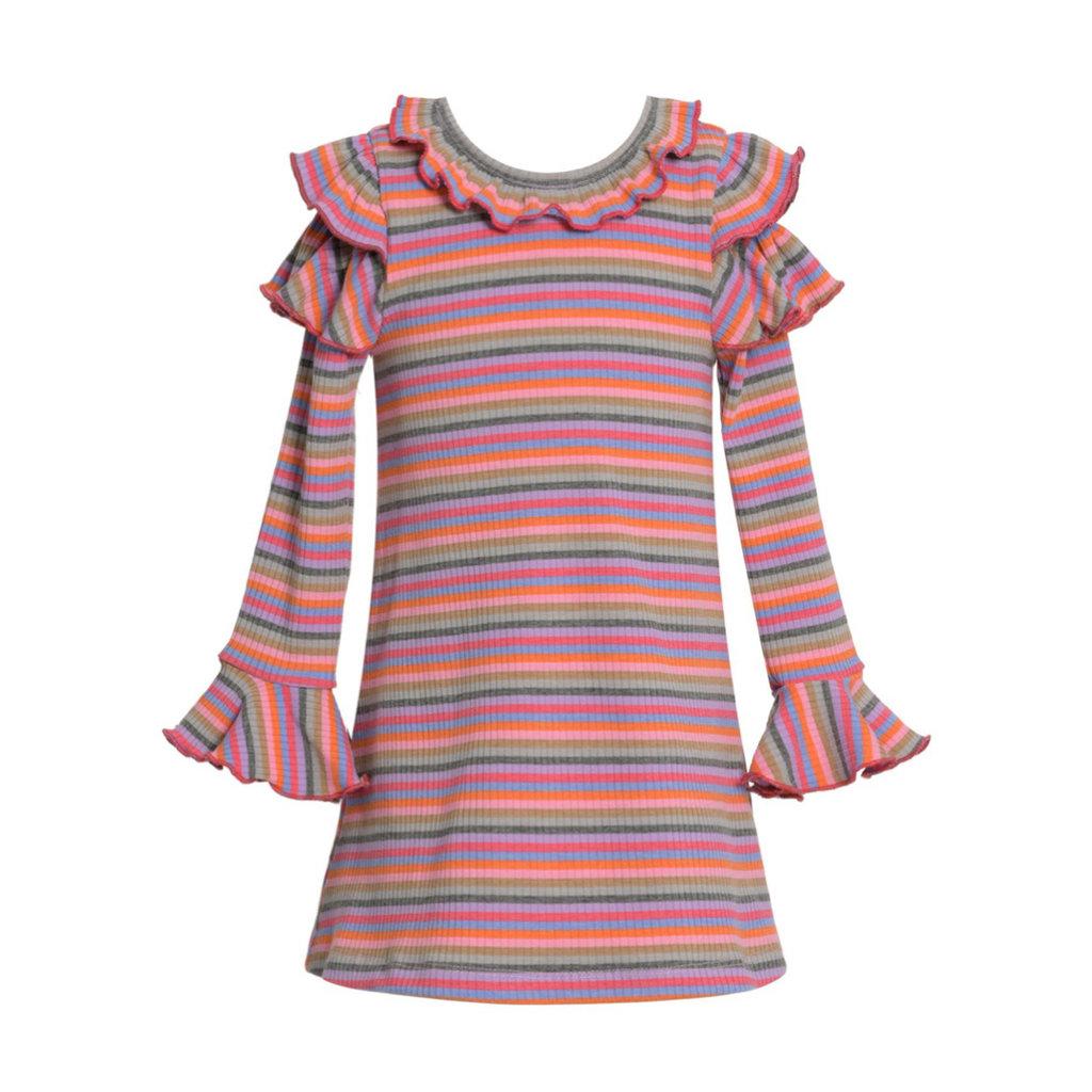 Baby Sara LS RUFFLE SLV A-LINE STRIPE DRESS