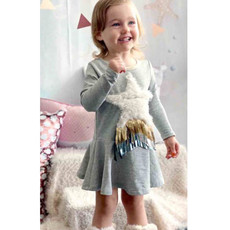 Baby Sara LS FIT AND FLARE DRESS W FAUX FUR POCKET DETAIL