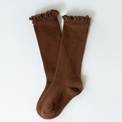 LITTLE STOCKING CO. CHOCOLATE LACE TOP KNEE HIGH SOCKS