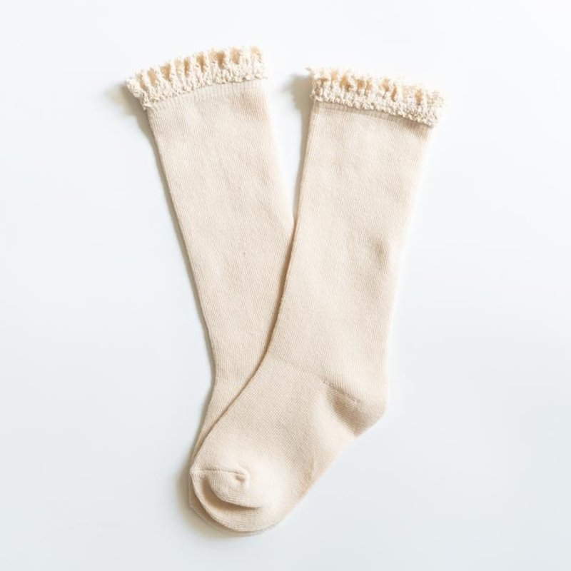 LITTLE STOCKING CO. VANILLA CREAM LACE TOP KNEE HIGH SOCKS