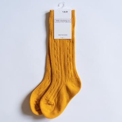LITTLE STOCKING CO. MARIGOLD CABLE KNIT KNEE HIGH SOCKS