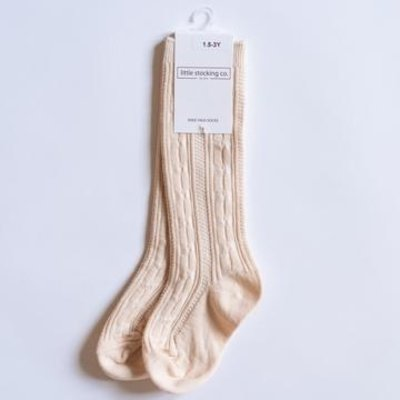 LITTLE STOCKING CO. VANILLA CABLE KNIT KNEE HIGH SOCKS