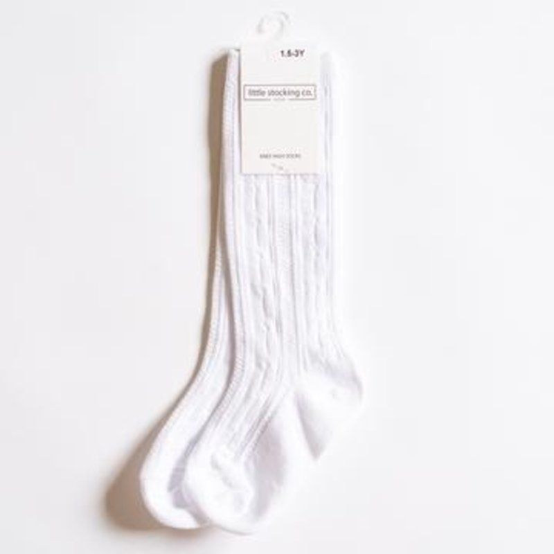 LITTLE STOCKING CO. WHITE CABLE KNIT KNEE HIGH SOCKS