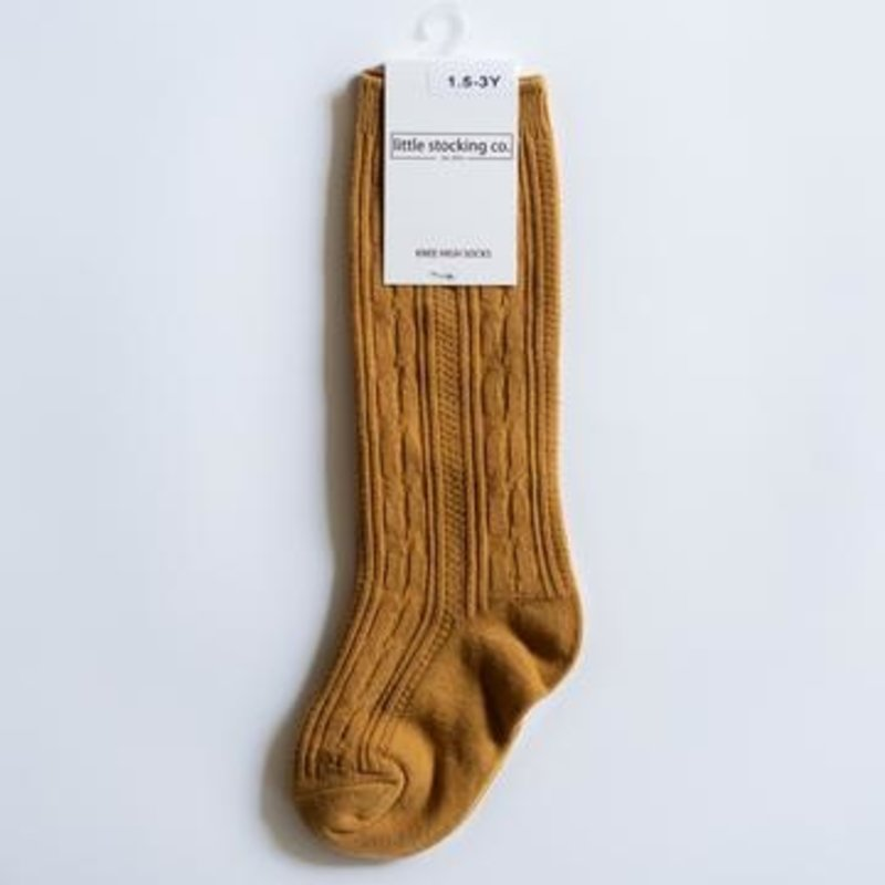LITTLE STOCKING CO. MUSTARD CABLE KNIT KNEE HIGH SOCKS