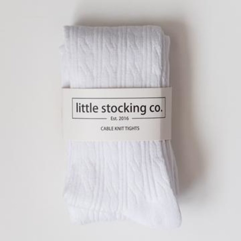 LITTLE STOCKING CO. WHITE CABLE KNIT TIGHTS