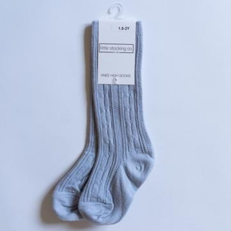 LITTLE STOCKING CO. POWDER BLUE CABLE KNIT KNEE HIGH SOCKS