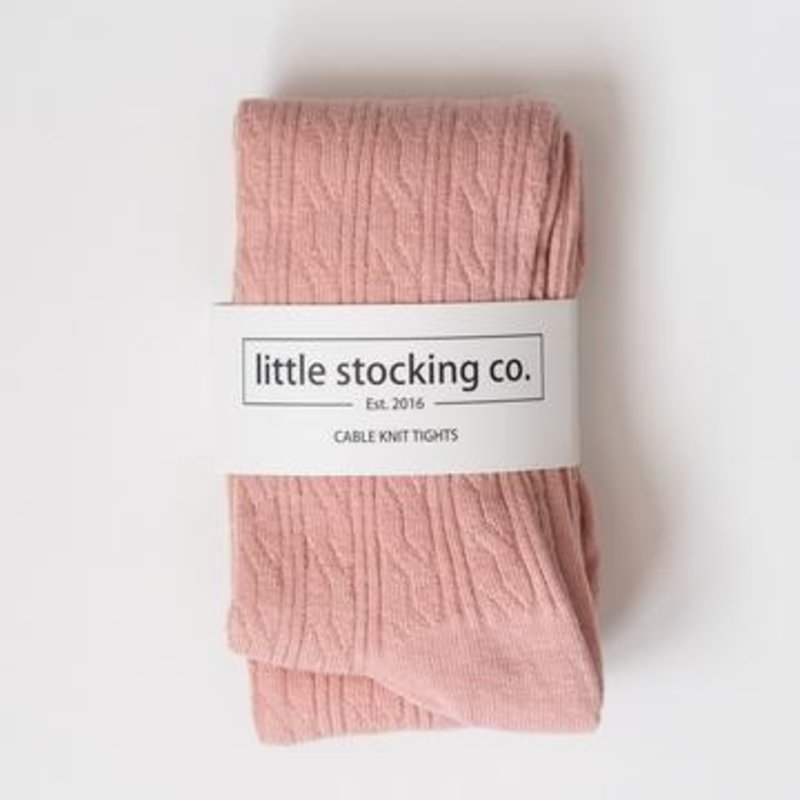 LITTLE STOCKING CO. BLUSH CABLE KNIT TIGHTS