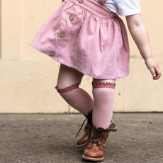 LITTLE STOCKING CO. BLUSH + MAUVE LACE TOP KNEE HIGH SOCKS