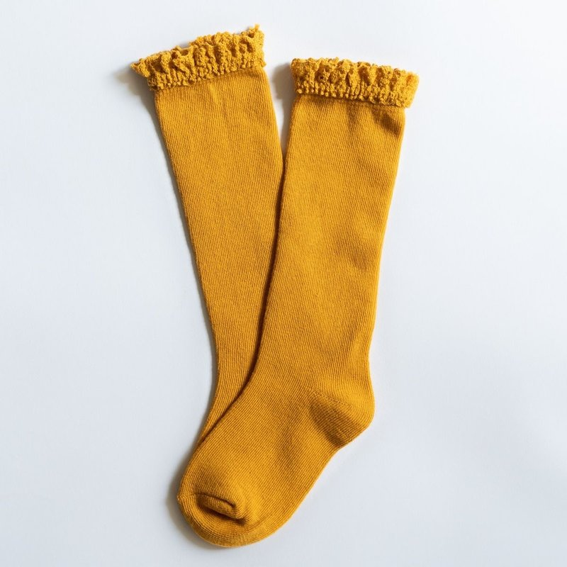 LITTLE STOCKING CO. MARIGOLD YELLOW LACE TOP KNEE HIGH SOCKS