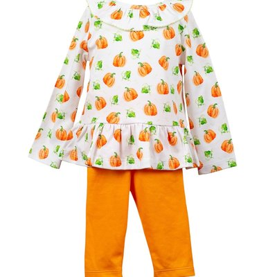 THE PROPER PEONY PARKER PUMPKIN RUFFLE TUNIC AND ORANGE LEGGINGS