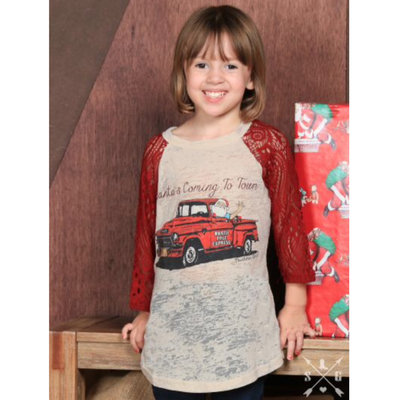 SOUTHERN GRACE APPAREL GIRLS SANTA'S COMING TO TOWN RAGLAN