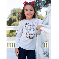 SOUTHERN GRACE APPAREL GIRLS JOYFUL, MERRY, & BRIGHT ON GREY LS TUNIC W CANDY CANE ACCENT