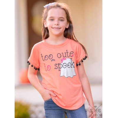 SOUTHERN GRACE APPAREL GIRLS TOO CUTE TO SPOOK ON ORANGE TEE W POM TRIM