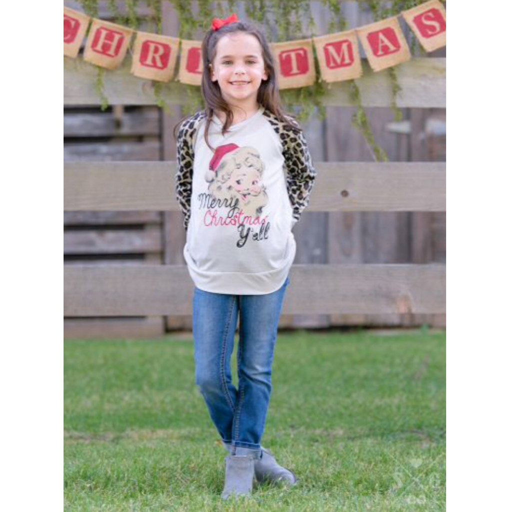 SOUTHERN GRACE APPAREL GIRLS MERRY CHRISTMAS Y'ALL ON GREY TEE W LEOPARD SLEEVES