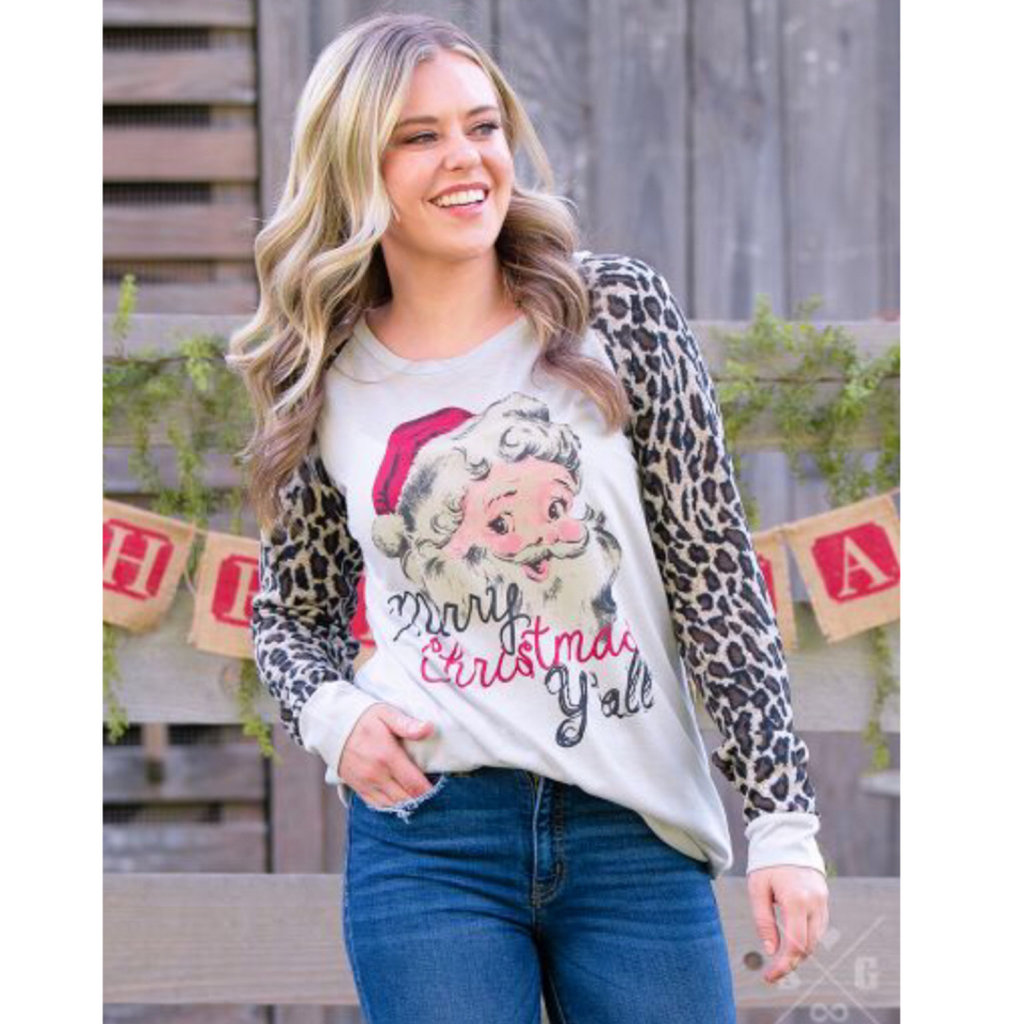 SOUTHERN GRACE APPAREL MERRY CHRISTMAS Y'ALL ON GREY TEE W LEOPARD SLEEVES