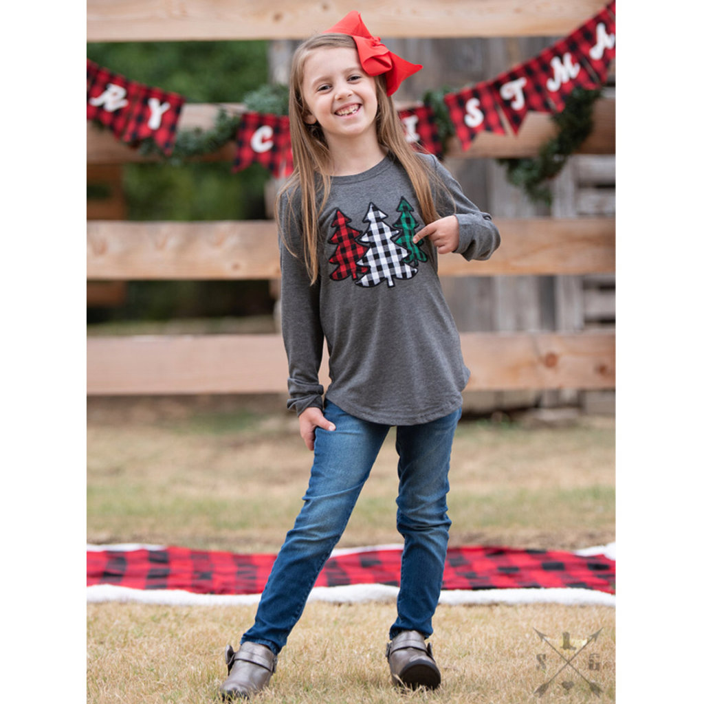 SOUTHERN GRACE APPAREL GIRLS THE FESTIVE FOREST TREE PATCHES ON LS CHARCOAL TEE