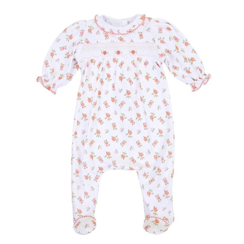 MAGNOLIA BABY AUTUMN'S CLASSICS SMOCKED PRINTED FOOTIE