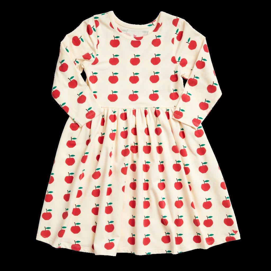 PINK CHICKEN ORGANIC STEPH DRESS- ANTIQUE WHITE APPLES