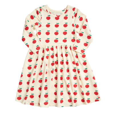 PINK CHICKEN ORGANIC STEPH DRESS- ANTIQUE WHITE APPLES