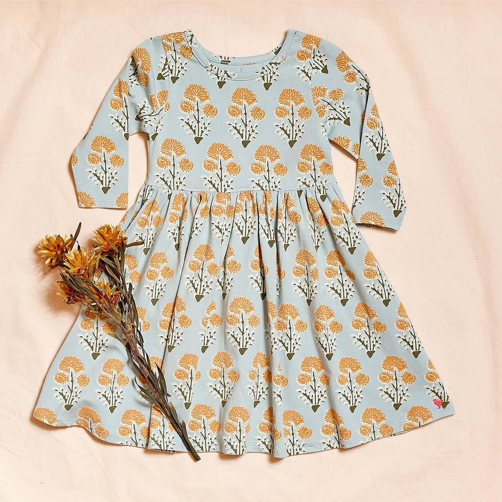 PINK CHICKEN ORGANIC STEPH DRESS- WINTER SKY MEDALLION FLORAL