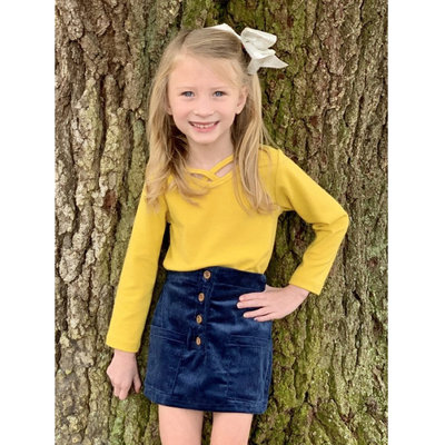 EMMA JEAN KIDS BLUE CORD SKIRT AND MUSTARD LS SHIRT