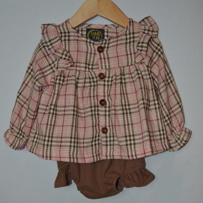 EMMA JEAN KIDS LILLY BLOOMER SET- PINK/BROWN PLAID