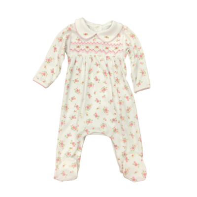 MAGNOLIA BABY SMOCKED PRINTED COLLARED FOOTIE