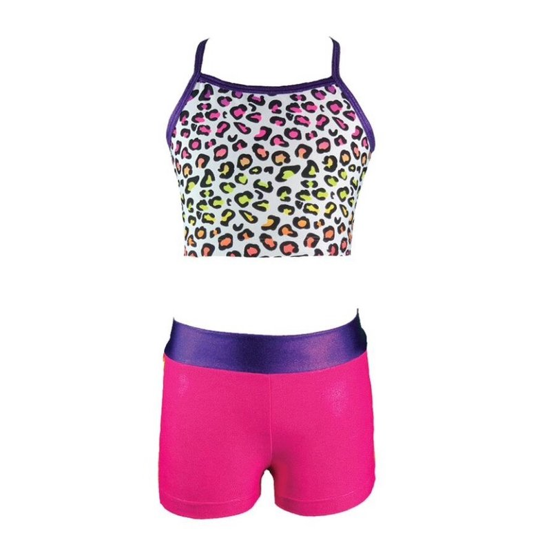 MULTI LEOPARD TOP AND FUCHSIA/ORANGE SHORT
