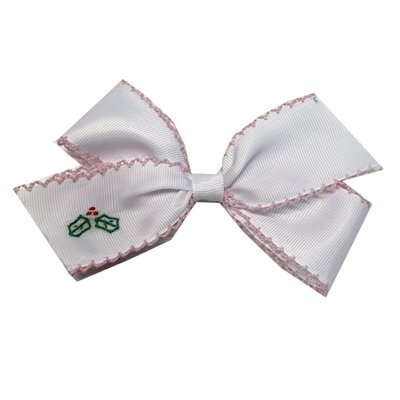 LULLABY SET LULLABY SET HAIR BOW W HOLLY EMB- STOCKINGS WERE HUNG