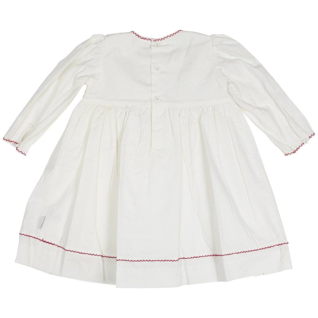 KORANGO NATURAL CLASS SMOCKED TWILL DRESS W HAND EMB BOWS