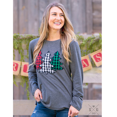 SOUTHERN GRACE APPAREL THE FESTIVE FOREST TREE PATCHES ON CHARCOAL LONGSLEEVE