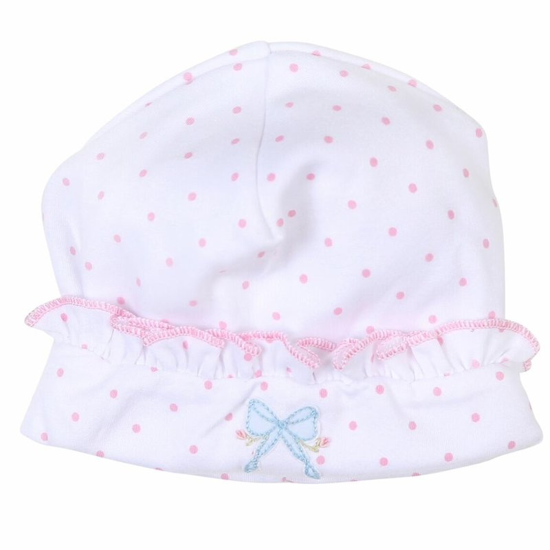 MAGNOLIA BABY VINTAGE BOW EMB RUFFLE HAT PK