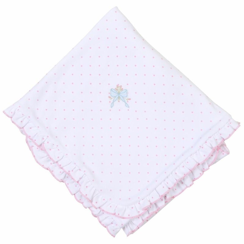 MAGNOLIA BABY VINTAGE BOW EMB RUFFLE RECEIVING BLANKET PK