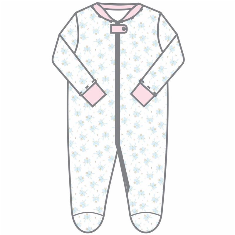 MAGNOLIA BABY VINTAGE BOW PRINTED ZIPPED FOOTIE PK