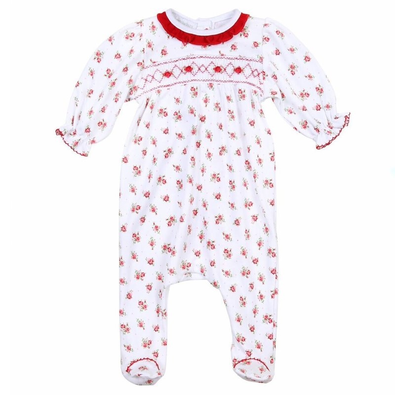 MAGNOLIA BABY EVE'S CLASSICS SMOCKED PRINTED FOOTIE