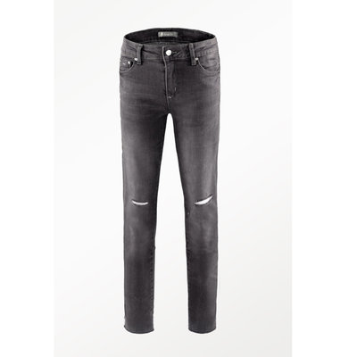TRACTOR JEANS MID RISE ANKLE SKINNY WITH KNEE SLIT AND FRAY HEM
