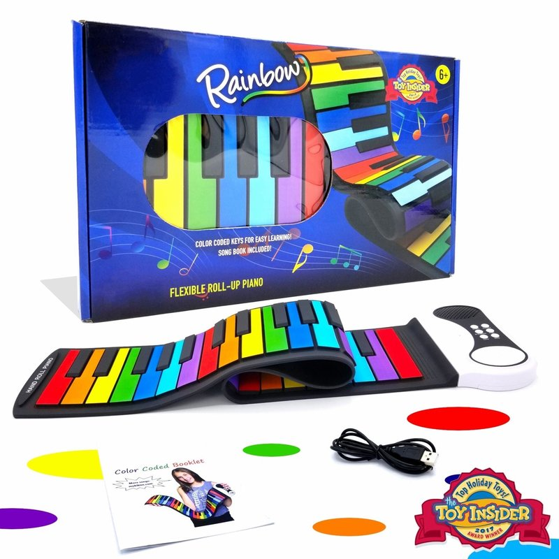 MUKIKIM FLEXIBLE ROLL-UP PIANO- RAINBOW