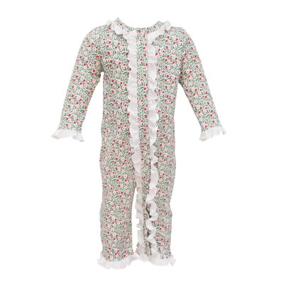 LILA AND HAYES GREY GIRLS RUFFLE ROMPER- CHRISTMAS FLORAL
