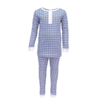 LILA AND HAYES JACK BOYS 2PC PAJAMA SET- BLUE PARTY HATS