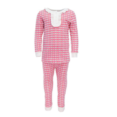 LILA AND HAYES ALDEN GIRLS 2PC PAJAMA SET- PINK PARTY HATS