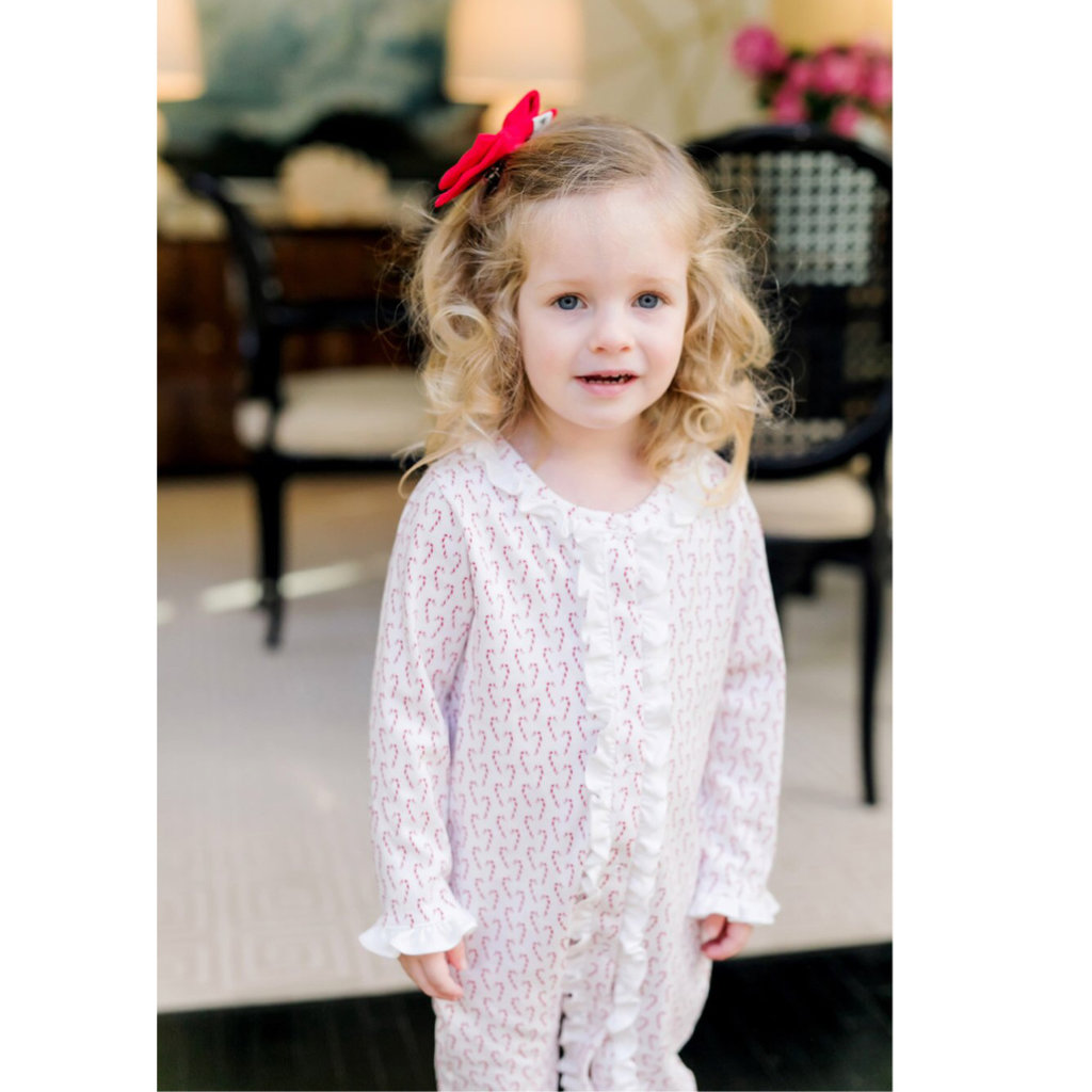 LILA AND HAYES GREY GIRLS RUFFLE ROMPER- CANDY CANES