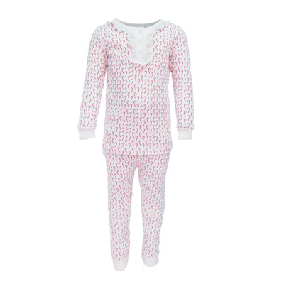 LILA AND HAYES ALDEN GIRLS 2PC PAJAMA SET- CANDY CANES