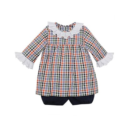 REMEMBER NGUYEN NAVY PLAID JUNIPER BLOOMER SET