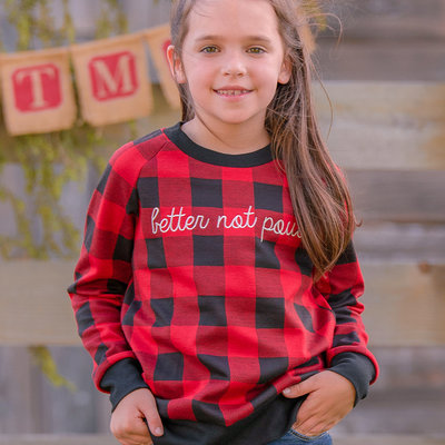 SOUTHERN GRACE APPAREL GIRLS BETTER NOT POUT ON BUFFALO PLAID SWEATSHIRT