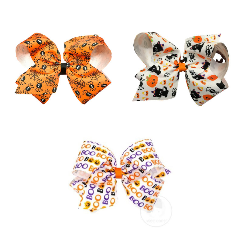 WEE ONES KING HALLOWEEN PRINT GG BOW