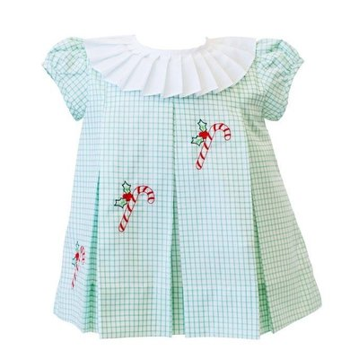 THE PROPER PEONY CANDY CANE DRESS- GREEN WINDOWPANE