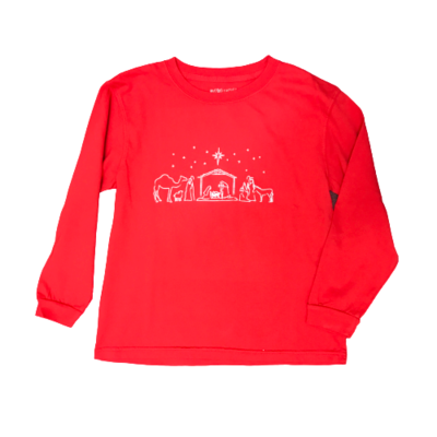 MUSTARD AND KETCHUP KIDS LS RED NATIVITY TEE
