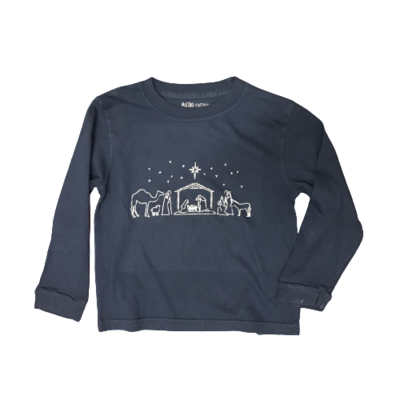 MUSTARD AND KETCHUP KIDS LS NAVY NATIVITY TEE